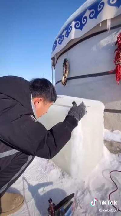 Making an ice chest from ice