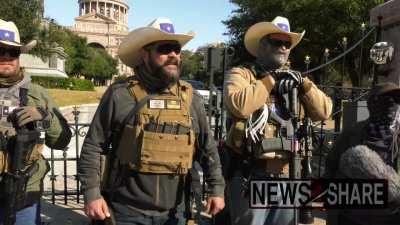 Armed militiamen are gathering to protest in front of Texas Capitol in Austin
