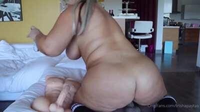 TRISHA PAYTAS RIDES DILDO AND GETS FUCKED WHILE SLEEPING + SQUIRTS AT THE END!!!