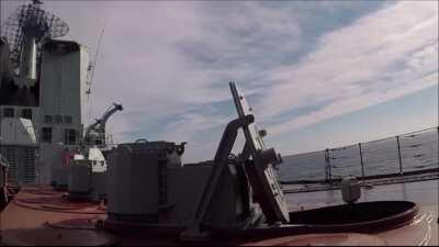 Russian cruiser Varyag launching two S-300F surface-to-air missiles