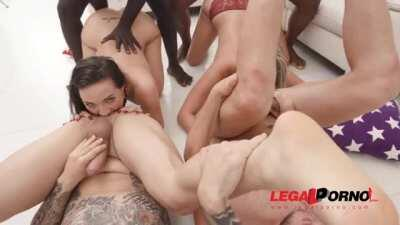 Kristy Black and Jolee Love double anal fucked together with creampie ending