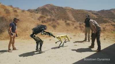 Humans bully a robot to kill a robotic dog