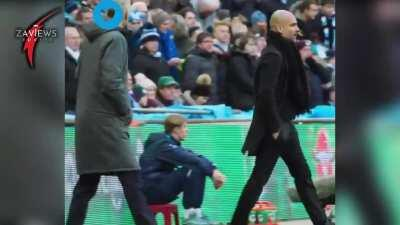 Pep Guardiola Shouts At Arsenal Boss Arsene Wenger