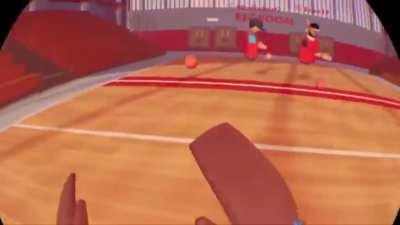 Playing dodgeball on playroom