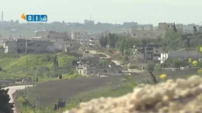 The sound of an incoming tank round miss (Syria)