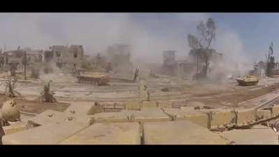 Damascus 2013, SAA BMP-2 hit by IED but the crew survived.