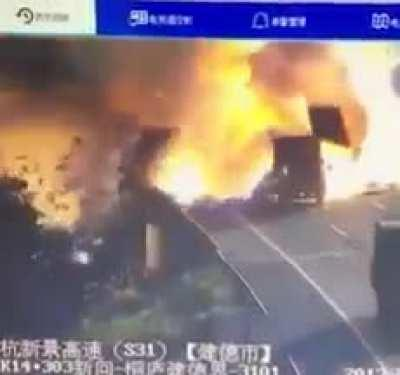 Truck's payload explodes when it sideswipes another truck pulled over on the side of the highway