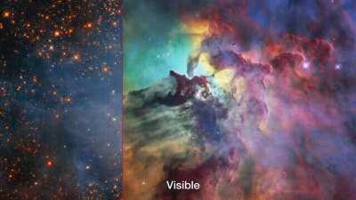 Lagoon Nebula in visible and infrared light (Credit: NASA, ESA, and STScI)