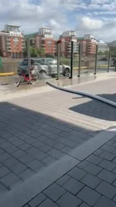 Skateboarder trips falls off his board in the most cartoonish way possible