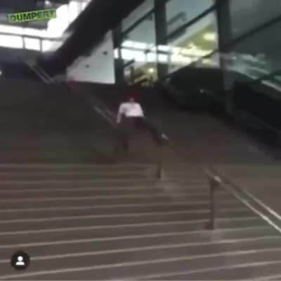 Sliding through the stairs
