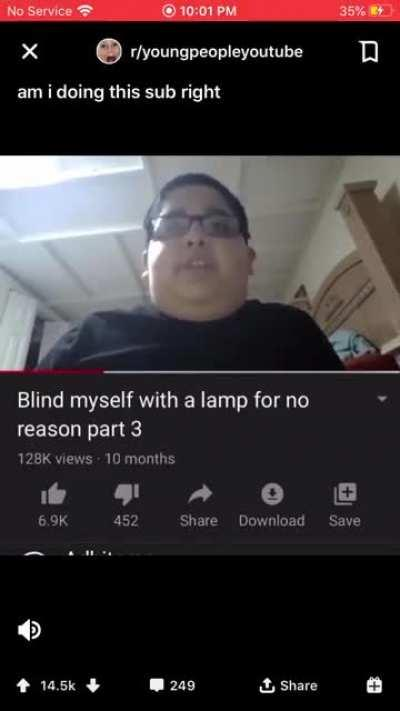 Roses are red, now he can't see, because he was blinding himself with a lamp for no reason part 3