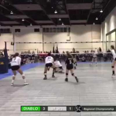 Girls Doing A Kick Save In Volleyball.