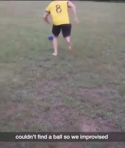 Soccer with bowling ball