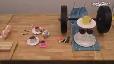 Rube Goldberg Machine + Tablecloth Trick Combo!