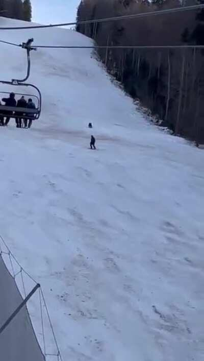 Skier chased by a bear in Romania