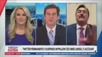 Mike Lindell, CEO of MyPillow, tries to continue spewing conspiracy theories about Dominion voting machines on Newsmax after Newsmax was served a billion dollar lawsuit by Dominion for spreading lies about their voting machines