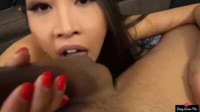 Sharon Lee takes a mouthful of cum