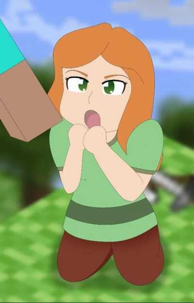 Alex eats Steve's Minecraft meat