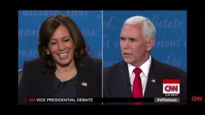 Watch senator Harris die inside as Vice President Pence keeps interrupting her.