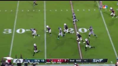 Seattle wide receiver DK Metcalf hits 22.64mph to chase down and tackle Arizona DB Baker, preventing an interception return touchdown.