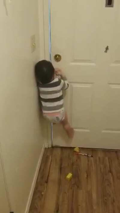 When he isn't even 2 yet but can open the front door. Every parent knows this scream deep in their soul.