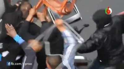 Algerians (Left) Vs. Israelis (Right) fight in France