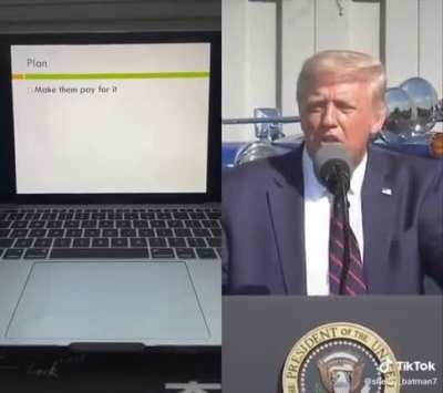 Trump's speech on the California fires in a Powerpoint Presentation