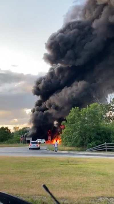 A little closer look at the Oil Tanker Crash that happened last night off of I-75