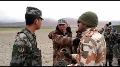 Indo-tibbet border police calming Chinese armies to stay at their side of the border..