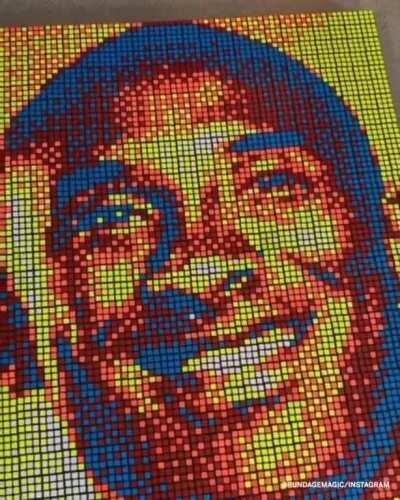 Portrait of Kobe Bryant with Rubik's Cubes