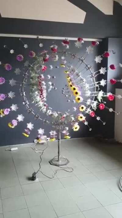 Gyroscopic type art display of repeating flowers