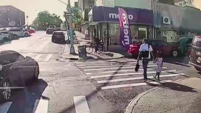Man just walking down the street with his daughter in NYC is gunned down. NSFL