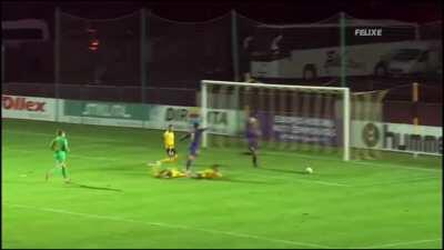 The yellow team's player pushed the goalie and they didn't even score. That's instant karma