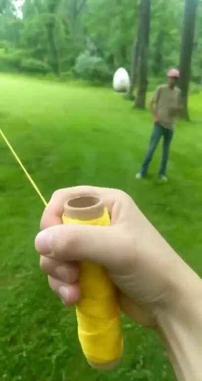 Pulling string in the yard