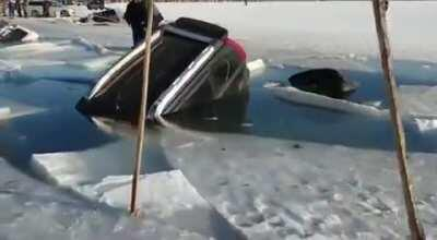 Using a frozen lake as a parkinglot