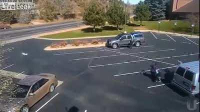 Pitbull Charges a Little Girl in a School Parking Lot