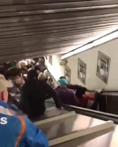 Malfunctioning escalator in a Rome metro station