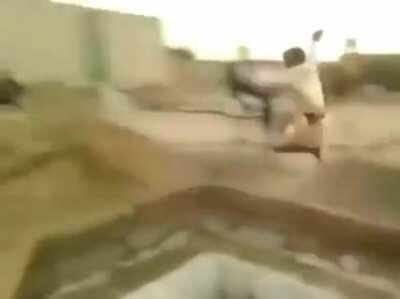 WCGW while trying to jump over a huge hole