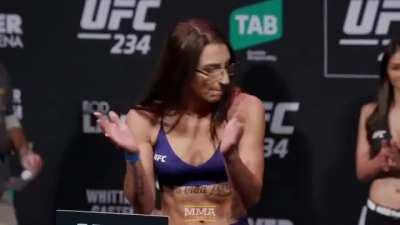Nadia Kassem at the ceremonial weigh-ins for UFC 234