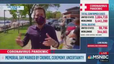 Reporter criticizing people for not wearing a mask gets called out by passerby because his cameraman doesn't have one on.