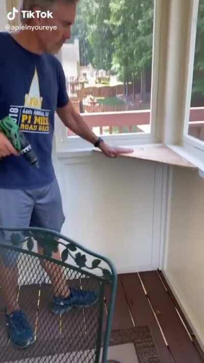 Dad builds a perch for a cat he did not want