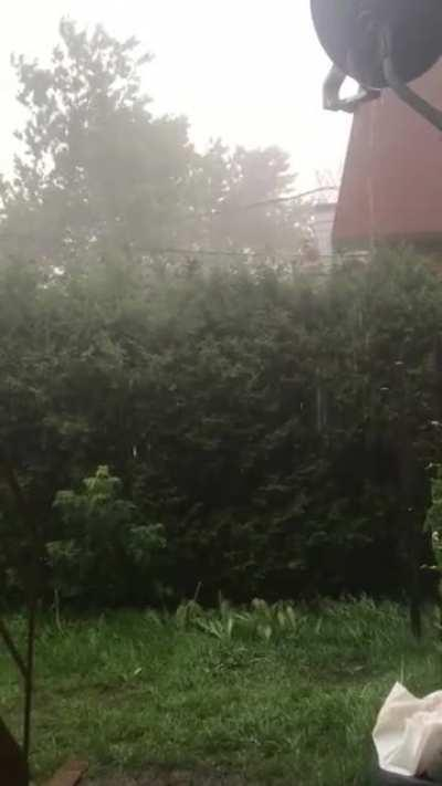 Todays rain. It was falling all around us for hours and it finally hit here.