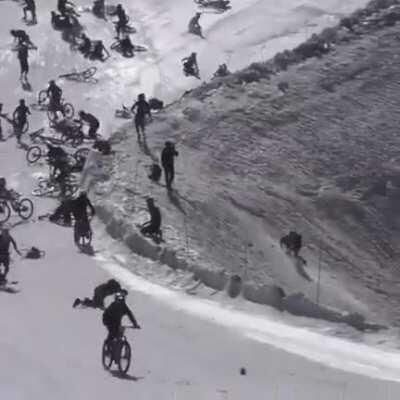WCGW bicycling on a ski slope