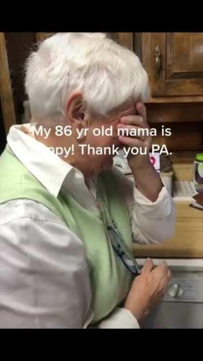 86 year old mother celebrates PA going blue
