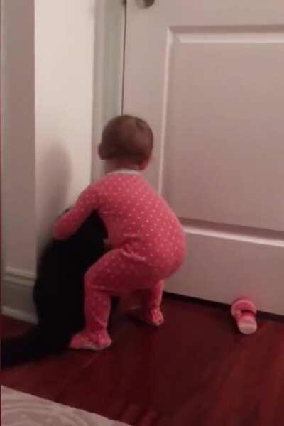 Cat is kind enough to open the door for this baby