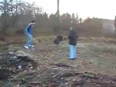 Home video of me and my dad trying to fight a turkey.