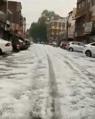 Unusual hailstorm in Delhi yesterday (May 14). Climate changes are scaring too.
