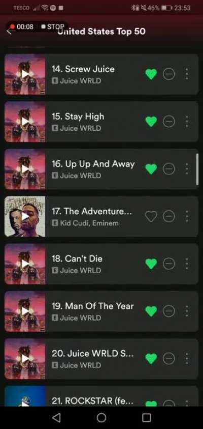 JUICE OCCUPIES HALF OF THE TOP 50 US SONGS ON SPOTIFY #LLJW #LENGENDSNEVERDIE 999 SHIT🖤🖤