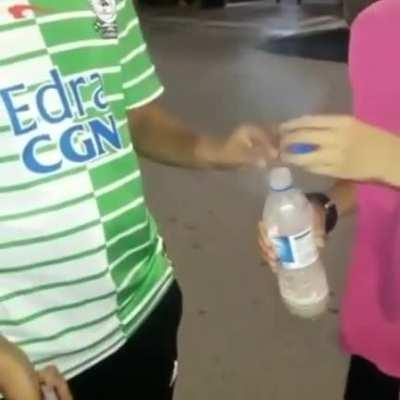 Flipping bottle with firecracker