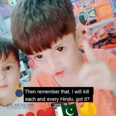 POS pakistani father teaches 8 years sons to kill every Hindu if the government builds a temple